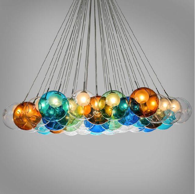 Us 4082 Diy Pęcherzyki Kolorowe Szkło Nowoczesny Lampa Wisząca Domu Lub Wakacje Dekoracyjne Oprawa Led G4 Dostępne Dla 110 V 220 V W Diy Pęcherzyki