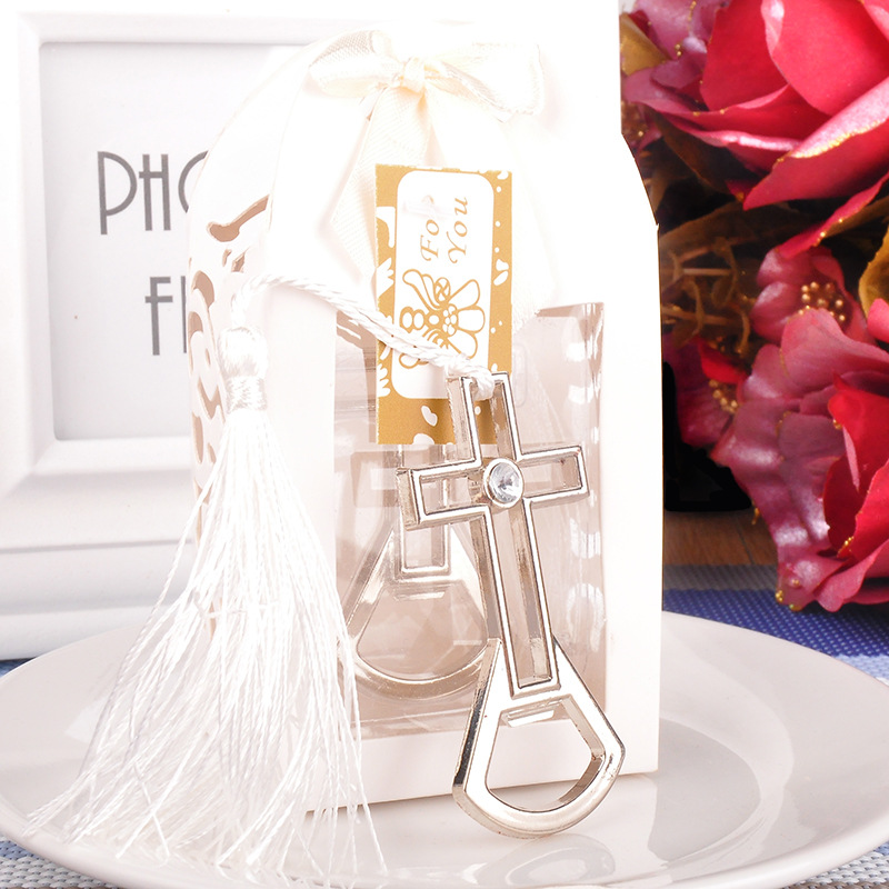 30pcs lot Wedding Favors for Silver Cross shape Bottle Opener small Party Favor gifts Stainless steel