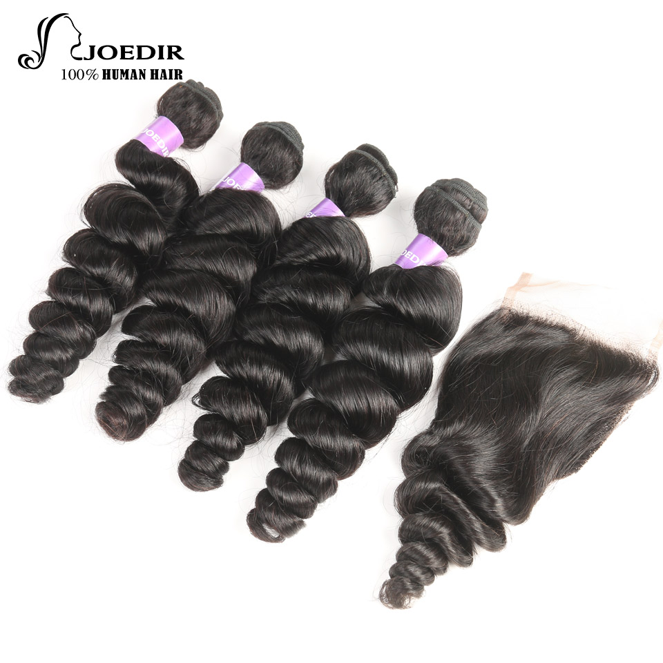 Joedir Malaysian Human Hair Bundles With Closure Non Remy 4 Hair Pieces Loose Wave Bundles With Lace Closure 4X4 Free Shipping
