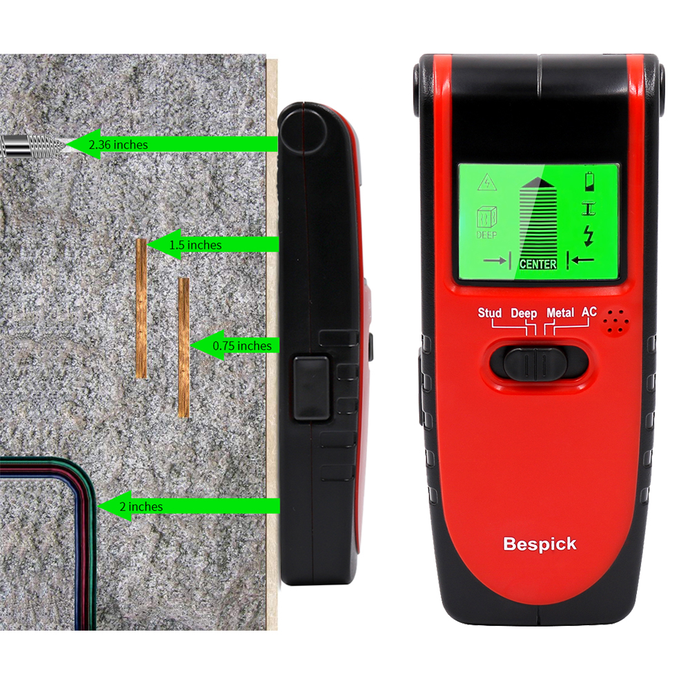 3 In 1 Metal Detector Stud Finder Wood Gold Detector Electric Cable AC Voltage Live Wire Wall Scanner Electric Box Ghost Detect