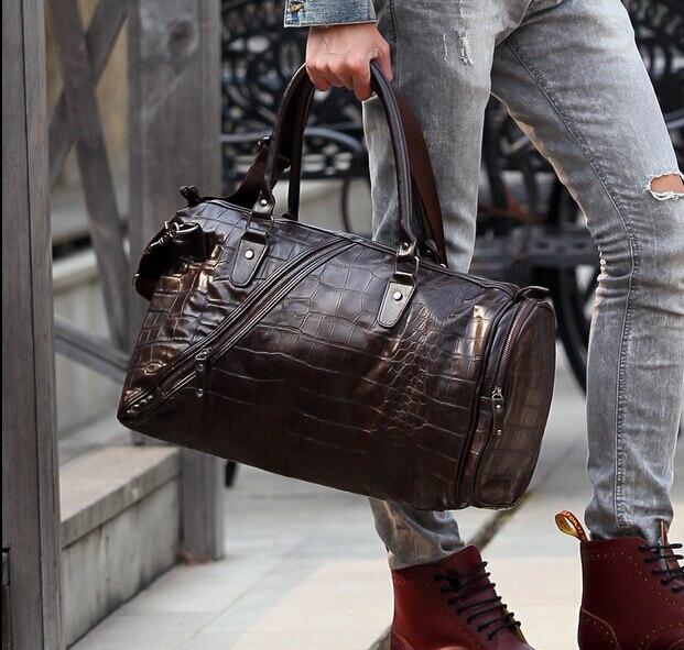 7985d21621 Men large Leather waterproof High quality designer handbags 2015 brand  shoulder road weekend trip men s travel bags