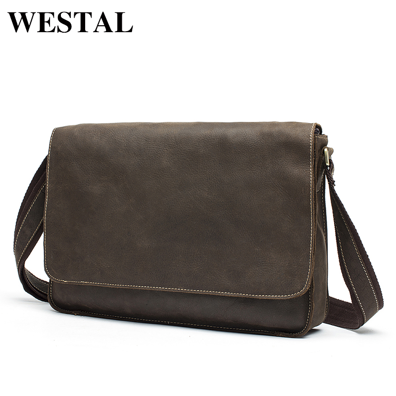 WESTAL Man bag crazy horse leather shoulder Bag vintage genuine cowhide leather men messenger bags business crossbody male bags