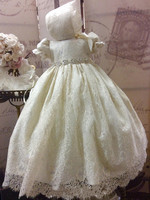 2019 Ivory White Lace Baby Girls Long Christening Gown Infant Toddler Girls Baptism Dress with Bonnet Newborn 3 6 9 12 24 Month