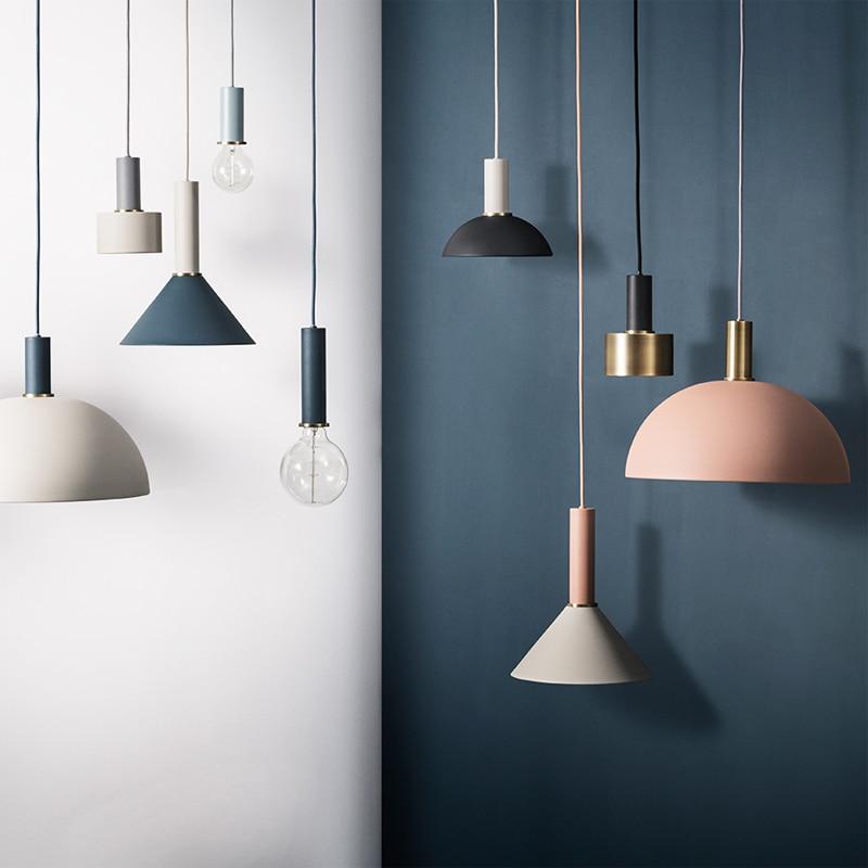 E27 Nordic Simple Bar Hanging Lamp Colored Pendant Light Restaurant, Bedroom, Bedside Lights, Modern Art And Creative Lighting