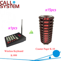 Ycall 999 Channel Wireless Waiter Buzzer Call System 1 keyboard 15 pagers Restaurant equipment