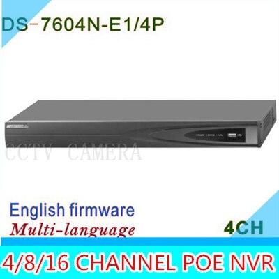 POE NVR 4CH 8CH 16CH pour 6mp 5mp 3mp 2mp 1080 P ip caméra DS-7604N-E1/4 P DS-7608N-E2/8 P DS-7616N-E2/8 P Réseau Vidéo Enregistreur