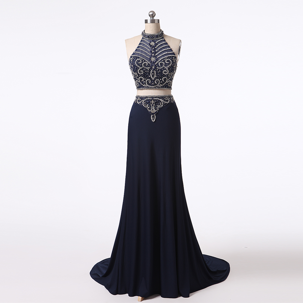 2019 Newest 2 Piece Halter Strapless A-Line Sexy Crystal Beaded Zip Back Floor Length Evening   Prom     Dresses   ED0038