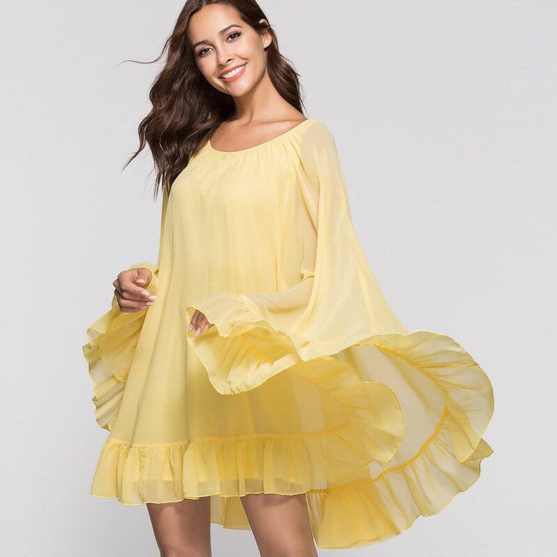 Frill Sleeve And Cuff Flowy Dress 2018