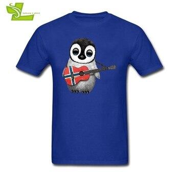 아기 펭귄 재생 노르웨이어 플래그 기타 남자 T 셔츠 캐주얼 여름 T-셔츠 남자 여름 100% 코 튼 티 십 대 간단한 옷