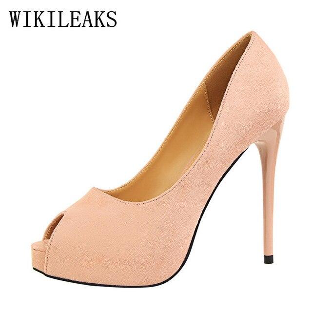 Bigtree zapatos flock peep toe diseñador zapatos mujer 2018 estilete zapatos  sexy fetiche tacones altos zapatos b88f550c60c9