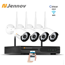 Jennov 4CH 2MP Wireles Wifi Surveillance Camera For Home 1080P Video Kit CCTV Outdoor System Waterproof Onvif Camera NVR Set HD
