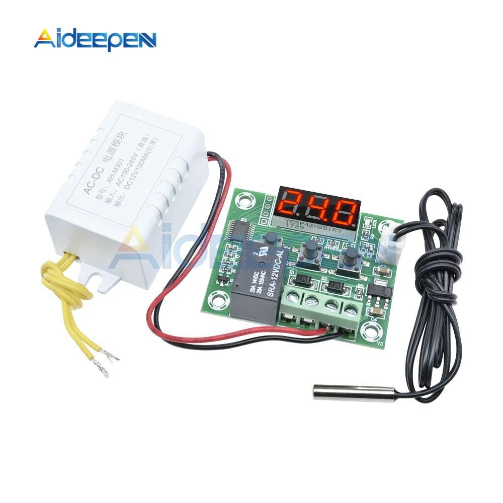 Controlador de Temperatura Fonte de Alimentação Termostato Digital Incubação Módulo Display Led Vermelho W1209 ac 110v-220v