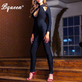 Bqueen 2017 New Hollow Out Long Sleeve Sexy Bandage Jumpsuits Solid Black Skinny Pants Jumpsuits Autumn