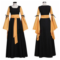 Black And Orange Medieval Dress Renaissance Victorian Gothic Dress For Adult Women Fantasy Halloween Party Costumes