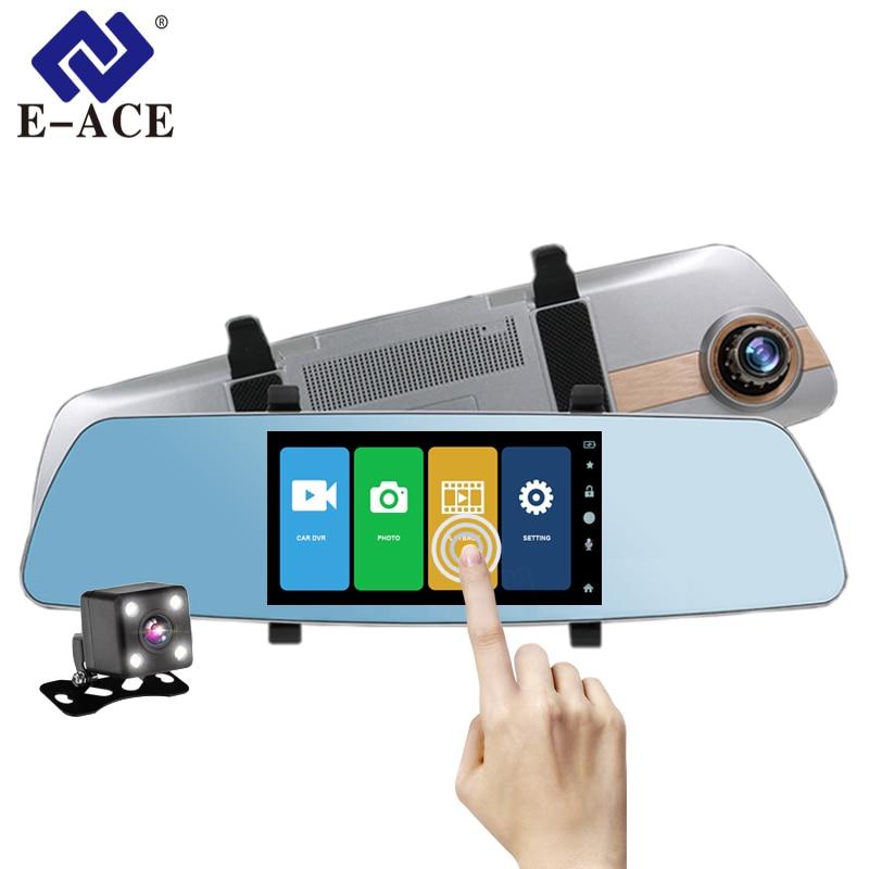 E-ACE Auto Dvr Full HD 1080 p 5 zoll Touch Screen Video Recorder Nachtsicht Kamera Dual Objektiv Rückspiegel auto Dash Cam