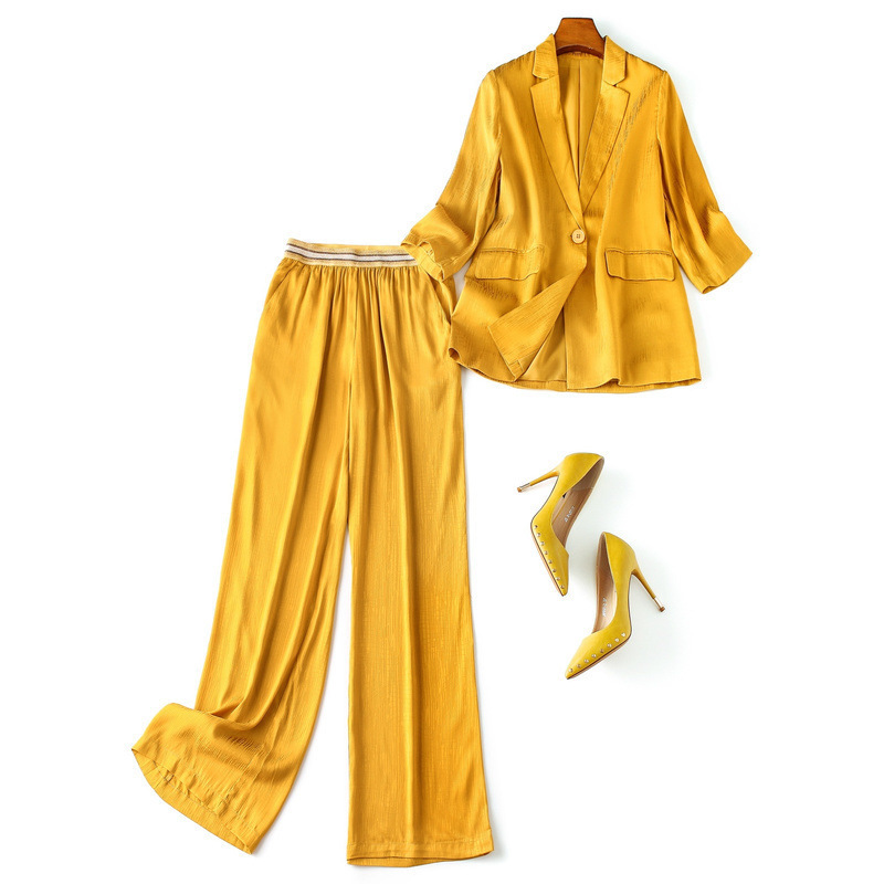 Women slim summer yellow blazer suit sexy club one button blazer jacket + striped elastic waist long pant set 2 piece outfits