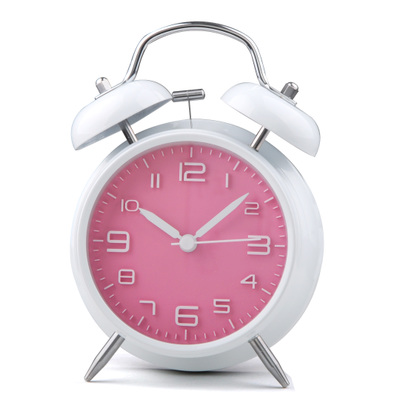 Happy Gifts High Quality Home Decor 3D Small Round Classic Double Bell Silent Desk Travel Alarm Clock With Nightlight