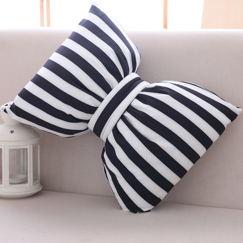 Cartoon Large Striped Black And White Bow Pillow Cushion