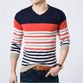 2016 de Alta Calidad Casual Sweater Hombres Jerseys Marca de invierno Que Hace Punto de manga larga v-cuello delgado de Punto Jerseys tamaño M-XXL