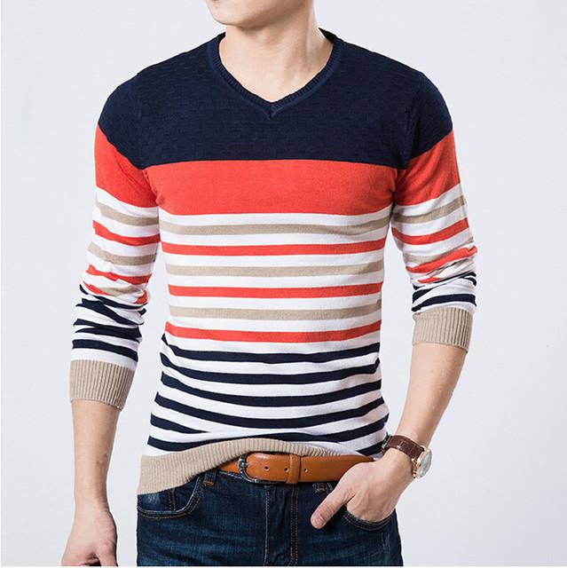 2016 de inverno Da Marca de Alta Qualidade Casual Camisola Homens Pullovers Malhas Blusas de Tricô de manga longa com decote em v magro tamanho M-XXL