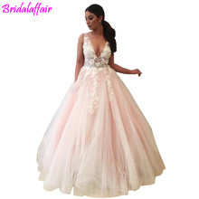 3D Floral Appliques Long Prom Dresses Sexy Deep V-Neck Party Floor Length Open Back Tulle Fashion Women Evening Gown