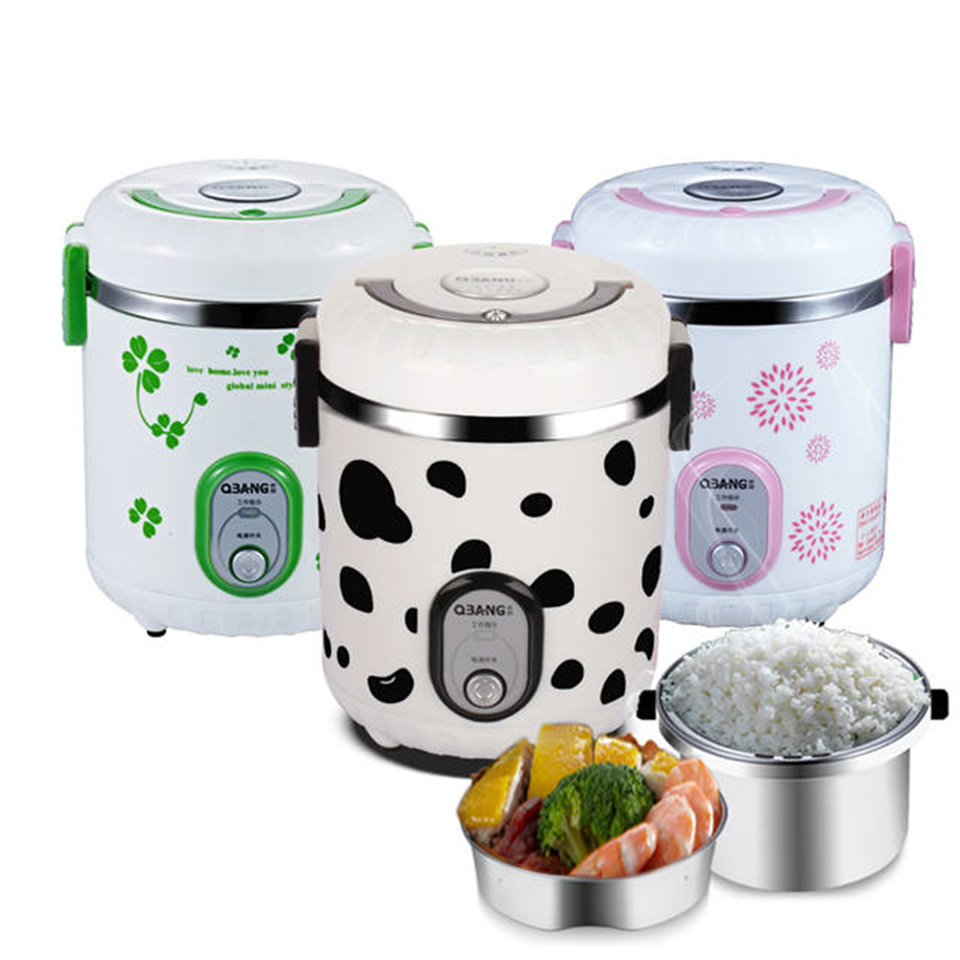 QBANG 2016 New Portable Electric Lunch Box Mini Rice Cooker Stainless Steel Steamed Rice Cooker Suited for 1-2 People 3 Colors 110v 220v dual voltage travel cooker portable mini electric rice cooking machine hotel student multi stainless steel cookers