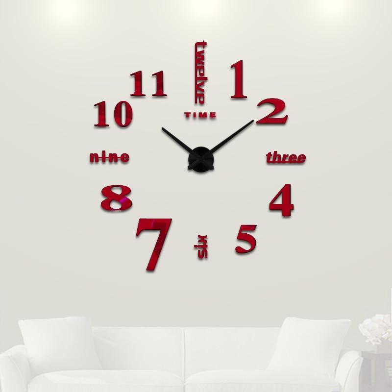 discounted 3d big home decorations big mirror wall clock mod
