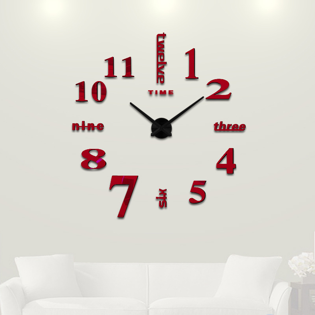 3c28ad0b7 3D Big Home decorations big mirror wall clock Modern design large decorative  designer wall clock watch wall sticker unique gift