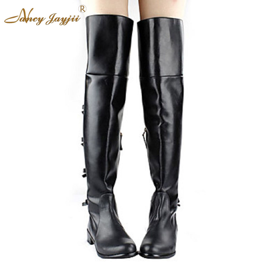 Women Black Round Toe Flat Heels Over the Knee Boots Shoes 0a027c0b95e4