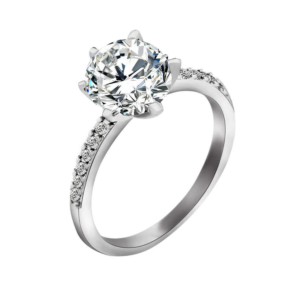 الكلاسيكية خاتم الخطوبة 6 مخالب تصميم AAA زيركون مكعب أبيض الإناث المرأة الزفاف الفرقة تشيكوسلوفاكيا خواتم قطرة الشحن