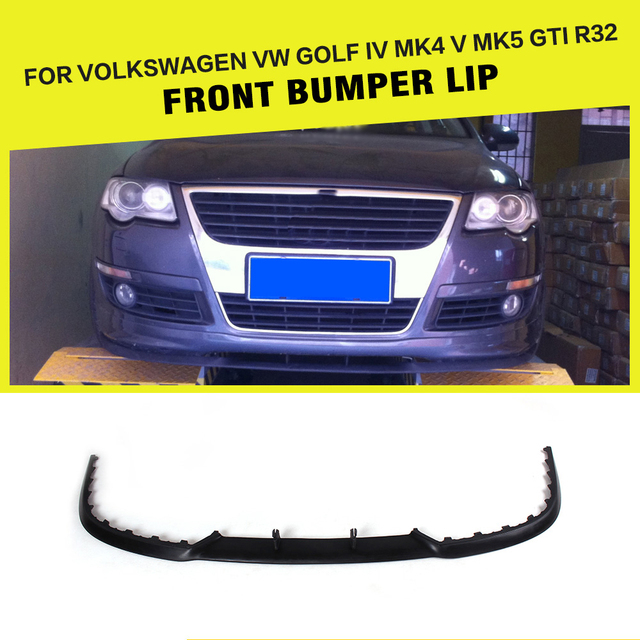 US $70 05 13% OFF|PU Unpainted Car Front Bumper Lip Spoiler for Audi A3 S3  A4 S4 A5 S5 for Volkswagen VW Golf 4 IV MK4 Golf 5 V MK5 GTI R32-in Bumpers