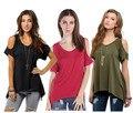 Nuevas Mujeres de La Moda camiseta de Algodón Fuera del Hombro de Gran Tamaño 2XL camiseta Ocasional Del Verano Del O-cuello Sexy Verde Negro Loose Top