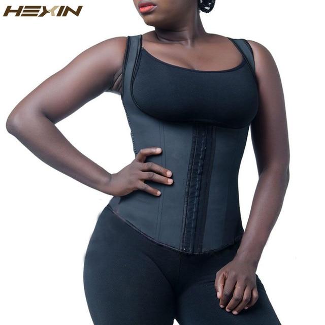 79ee24b9234 HEXIN Latex Vest Waist Trainer Classic Vest Waist Cincher Black Fajas  Reductoras Plus Size Body Shaper
