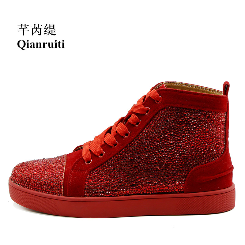 Qianruiti Men Rhinestone Sneaker High Top Crystal Flat Lace-up Ankle Boots Zapatillas Hombre Casual Shoes for Men EU39-EU47 new spring men shoes trainers leather fashion casual high top walking lace up ankle boots for men red zapatillas hombre