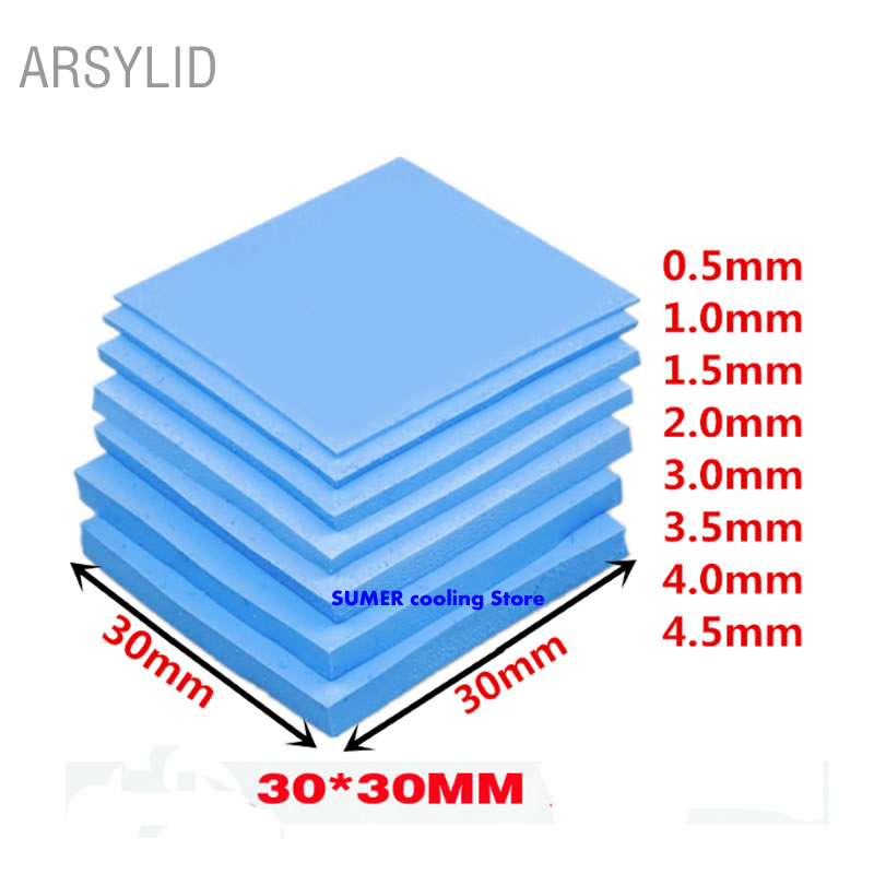 High quality 30*30mm Variety of thickness Thermal conductivity 3.6W GPU CPU Heatsink Cooling Conductive Silicone Pad Thermal Pad