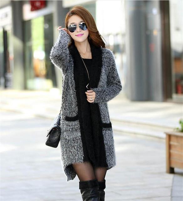2016 nueva Europa estilo de las mujeres abrigo de invierno larga de las señoras de cuello chal chaqueta de punto Collar de la Bufanda bufanda de punto flojo Cardigans