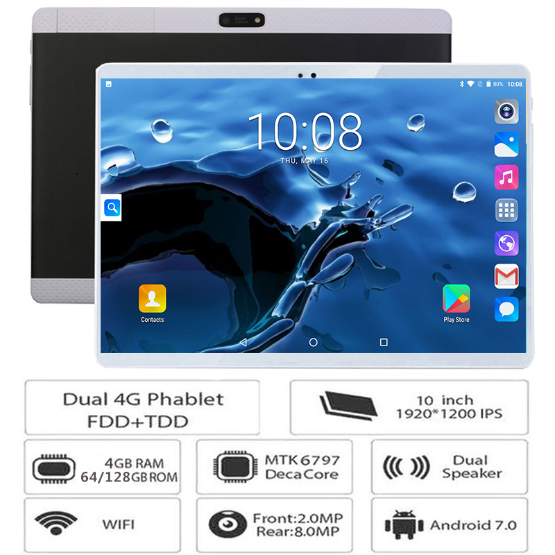 Tablet Pc Deca-Core 10inch 1920x1200 4GB-RAM 4G LTE GPS 3G IPS 128GB Bluetooth-10 Gifts