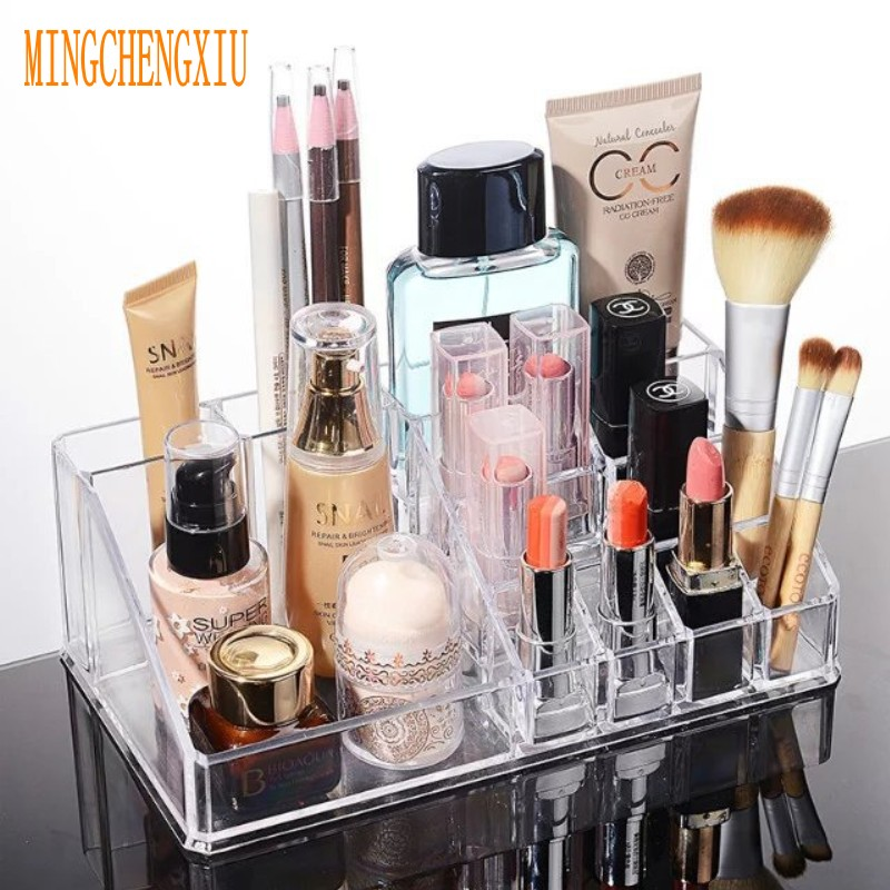 16 ranuras de escritorio de maquillaje casos de cristal de acrílico - Organización y almacenamiento en la casa