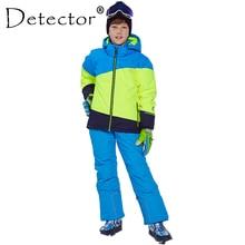 Детектор зима лыжный костюм утолщаются Мальчики Костюмы Открытый комплект сноуборд куртка брюки зима Twinset подходит-20-30 градусов