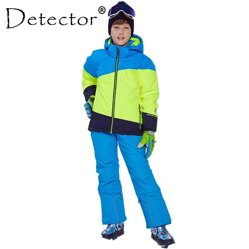 Detector de inverno terno de esqui engrossar meninos roupas conjunto ao ar livre snowboard jaqueta calças inverno twinset adequado-20-30 graus