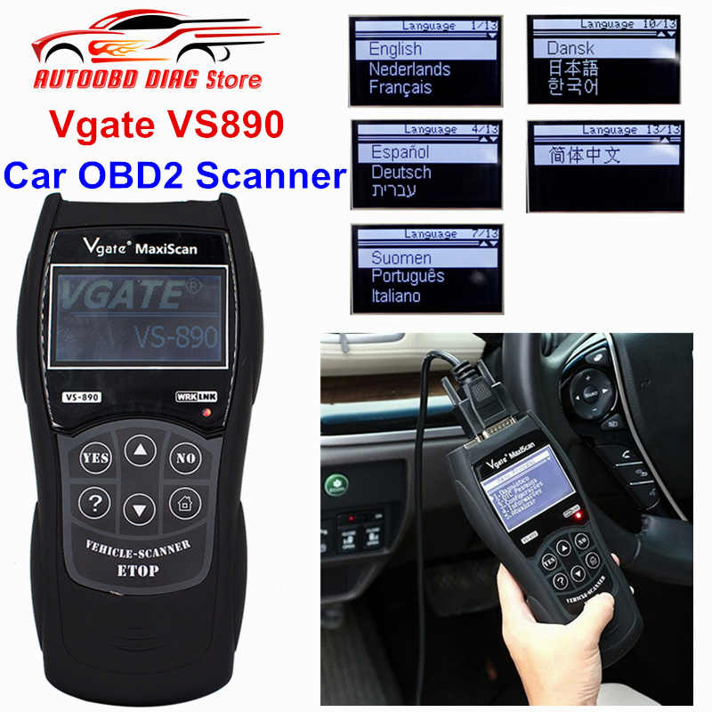 Universal Diagnostic Tool MaxiScan Vgate VS890 OBD2 Scanner Multi-Cars  VS-890 Full CAN-BUS Multi-Languages VS 890 Code Reader