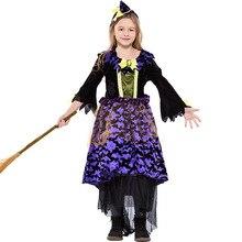 Envío libre niños niñas Halloween bruja traje idea divertida vestido barato  púrpura neto hilado de lujo manga larga traje 3f043af6cd7
