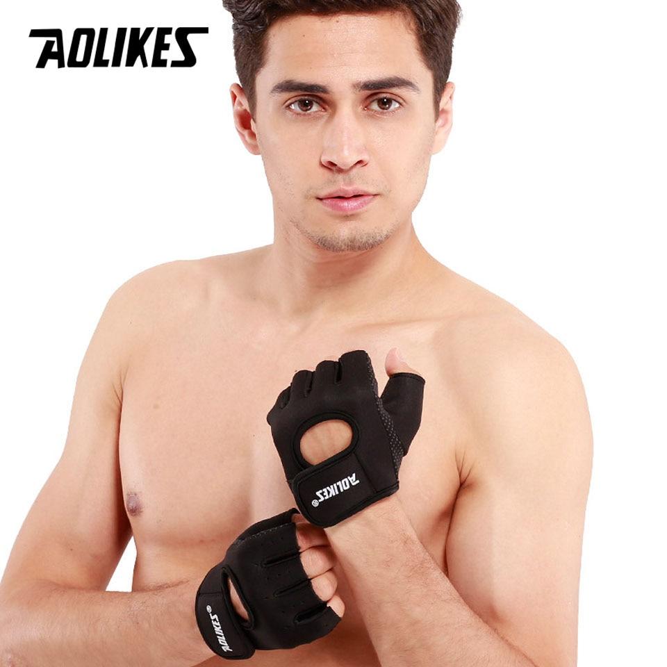Men Non-slip Exercise Fitness Weight Lifting Riding Gym Half Finger Gloves OK 02