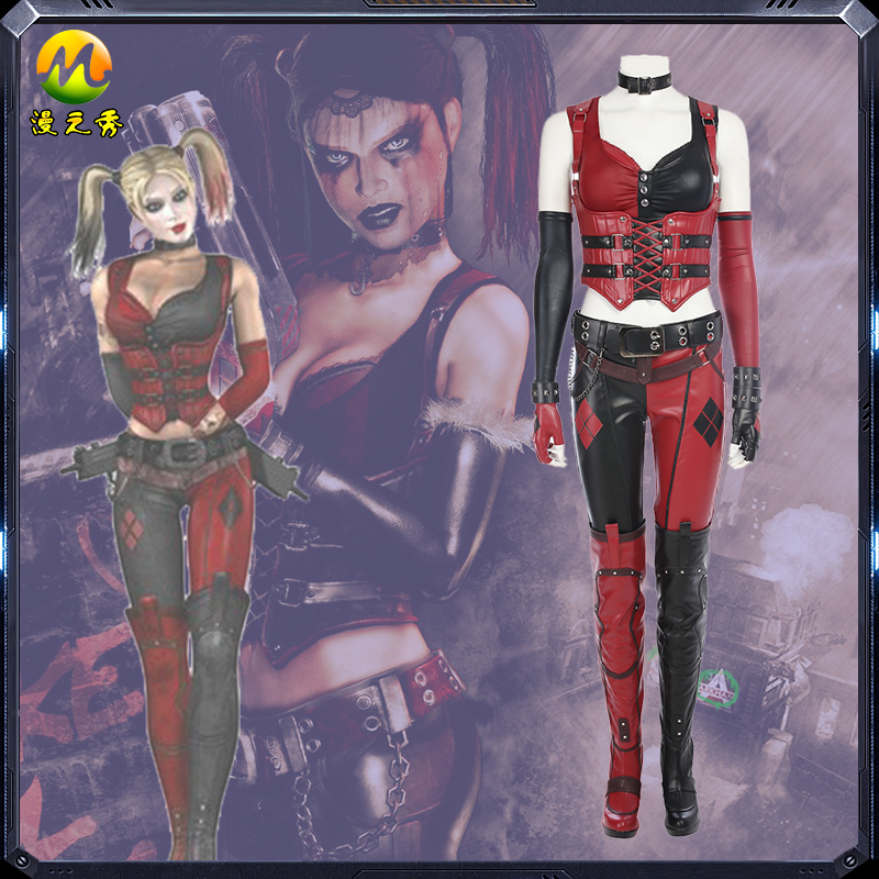 Batman Arkham Knight Harley Quinn Cosplay Costume Harley Quinn Sexy PU Leather Suit Halloween Costumes for women Custom made
