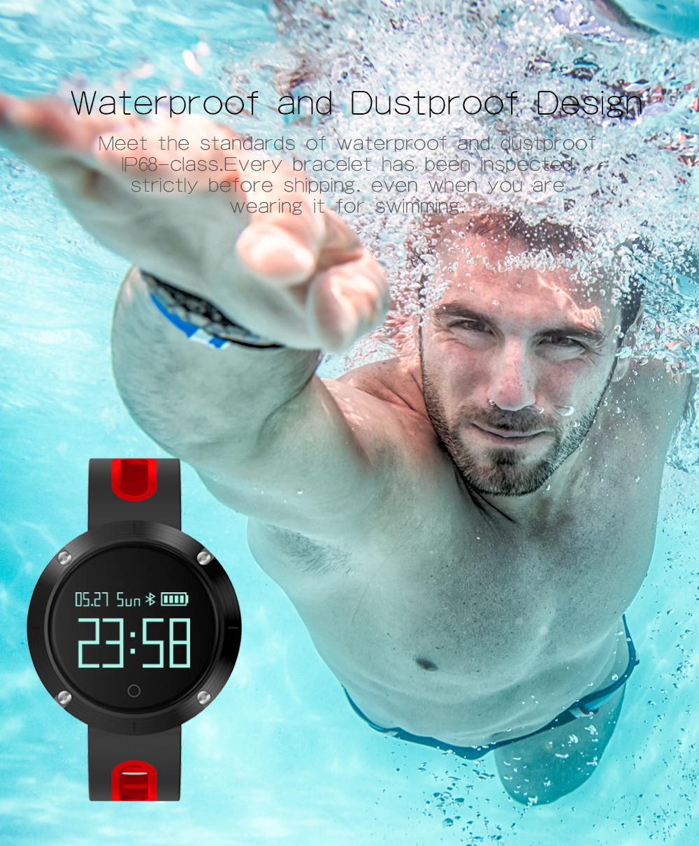 DM58 Smart Band Heart Rate Blood Pressure Watch IP68 Waterproof Sports Bracelet Smart Wristband Fitness Tracker for IOS Android 8