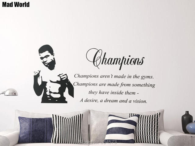Mad World MUHAMMAD ALI GYM LOUNGE Wall Art Stickers Wall Decal Home DIY  Decoration Removable Part 39