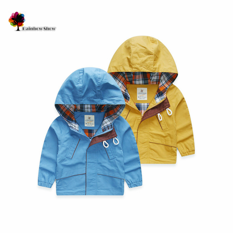 New Children Clothing Boys Autumn and  Spring Solid  Cotton Quality Hooded Leisure Outwear  Children Trench