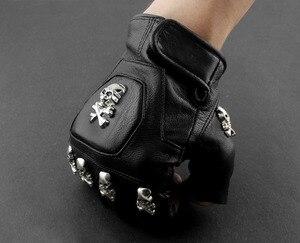 Image 4 - Gants sans doigts de motard en cuir pour hommes