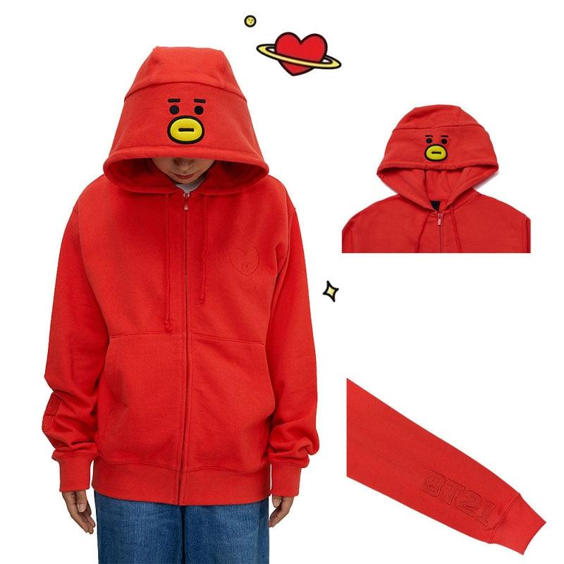 WXCTEAM BTS BT21 Hoodies Sweatshirt Full Zip Loose Fit Jacket Style Suga Jimin Jungkook V RM Jimin Jacket Pullover New