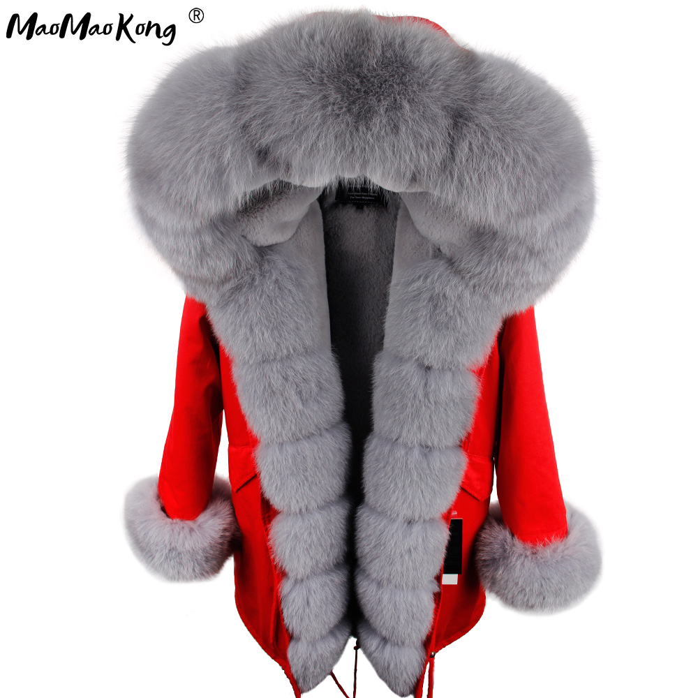 Winter Jacket Coat Outwear Parkas KONG MAO Real-Fox-Fur-Collar Natural Women Camouflage
